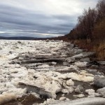 The Jumbled Ice Is Moving Downriver - Here's This Evening At Napaimute (May 22nd)