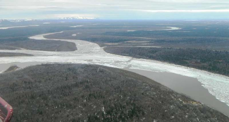 Confluence of Kuskokwim & Old Kuskokwim at Lower Kalskag.