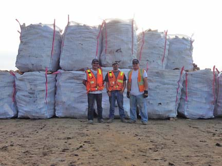 KLG Barge Crew: (L-R) Kevin Levi & Ted Wise with Timber Harvest Project Manager, Joey Evan