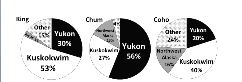 Alaska subsistence salmon harvest composition by region based public participation in the annual post-season subsistence harvest surveys (average harvest from 2000 to 2008).