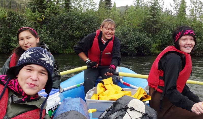 Super leader Nacole Gusty of Stony River at the oars with crew (L to R) Nicole Sakar (Crooked Creek), Issac Stewart (Kalskag), and Samantha Hoeldt (Aniak).