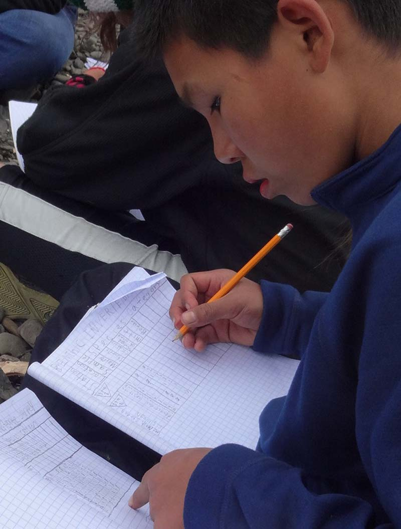 Scientist Michael Gusty of Stony River diligently compiles his data sheet from the days catch.