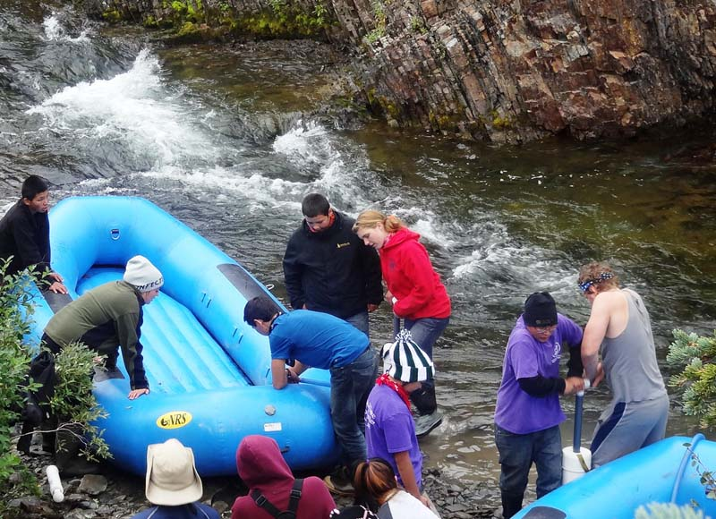Preparing the rafts for launch.