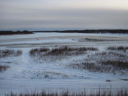 You can easily see how the water has now risen once the Kuskokwim ice stopped moving.