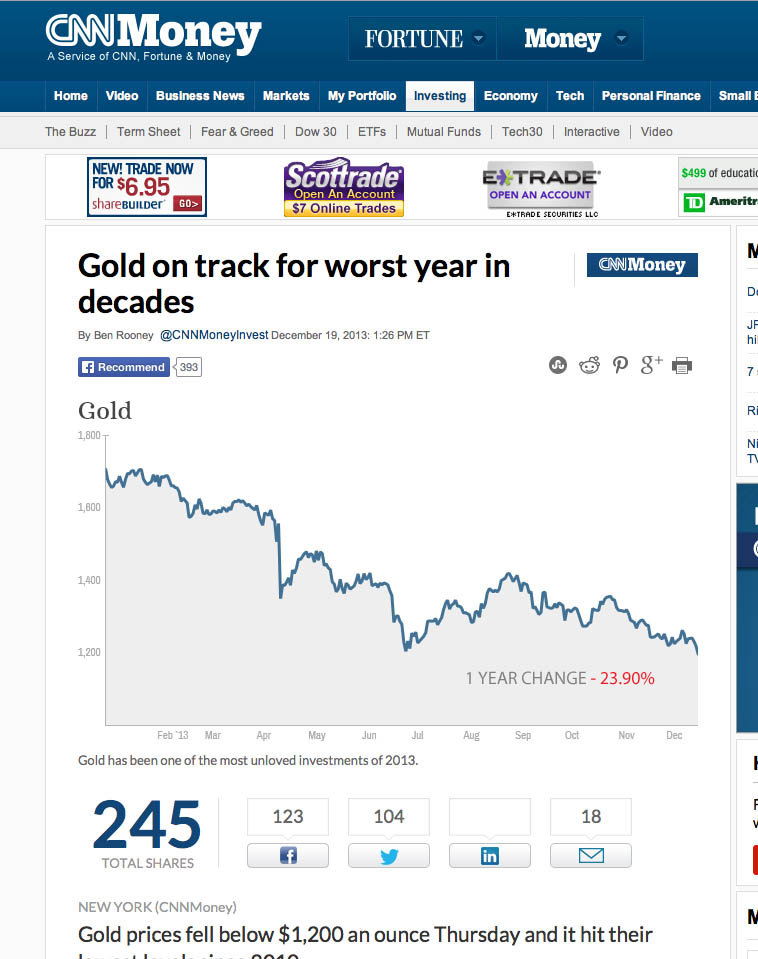The recent downturn in gold prices.