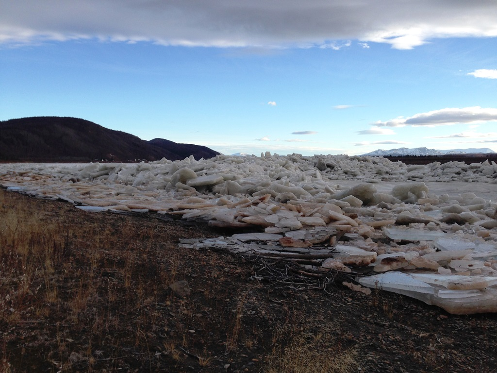 November 13: piles of ice from the break up on the beach at Napaimute
