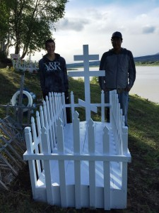 L-R: Dakota Phillips & Josh Kameroff complete the first new grave in our Napaimute Cemetery Restoration Project