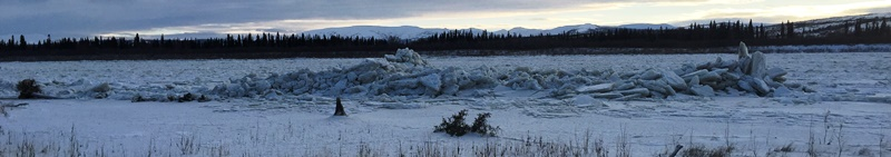 Piles of ice at the Napaimute gravel pit